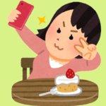 ケーキと自撮りをする女性